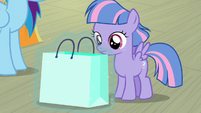 Gift bag placed in front of Wind Sprint S9E6