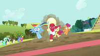 Orchard Blossom charges through Rainbow and Scootaloo S5E17