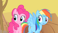 Pinkie Pie and Rainbow Dash astonished by Spike's rapport with the buffalo S1E21.png