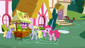 Pinkie Pie questioning Derpy as to Rainbow Dash's whereabouts S1E5.png