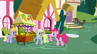 Pinkie Pie questioning Derpy as to Rainbow Dash's whereabouts S1E5