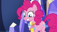 Pinkie Pie wearing an ambassadorship ribbon S7E11