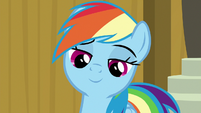 Rainbow Dash smiling with pride S9E6