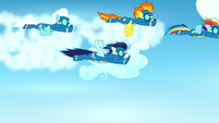 Rainbow and Bolts race across the sky S8E18