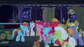 Rainbow and ponies laughing together S6E15.png