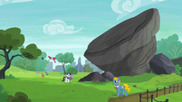 Rarity and Maud in front of giant rock S6E3