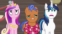 Shining Armor grimly agreeing with Spearhead S7E3