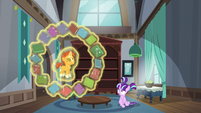 Sunburst levitates himself and circles books around him S5E26
