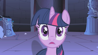 Twilight looking at Nightmare Moon S1E02
