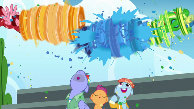 File:Wonderbolts shower Bow and Windy with rainbow water S7E7.png