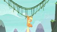 Applejack hanging off her vine bridge S8E9