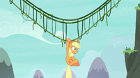 Applejack hanging off her vine bridge S8E9