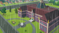 Canterlot High School exterior during rainfall SS6