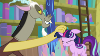 Discord puts Twilight wig on Starlight's head S8E15