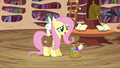Fluttershy arrives with Angel S03E11.png