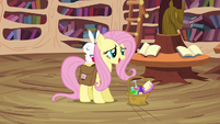 Fluttershy arrives with Angel S03E11