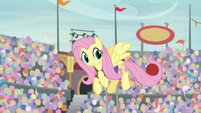 Fluttershy catches ball with her tail S9E6