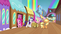 Mane 6 getting off the train S4E22.png