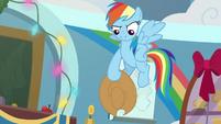 Rainbow Dash holding Applejack's hat BGES1
