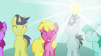 Sweeping crowd shot of ponies S2E18