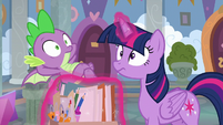 Twilight and Spike hear the doors open S9E3