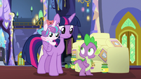 Twilight and Spike look uncertain at each other S7E3