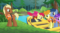 Apple Bloom hops into a boat S6E4