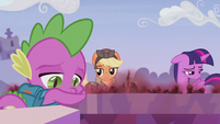 Applejack looking at Twilight and Spike S5E25