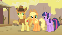 Braeburn Showing Appleloosa to Twilight and Applejack S1E21