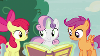 Cutie Mark Crusaders hatching a plan S7E8