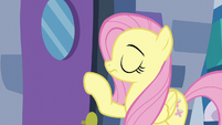 Fluttershy about to knock on the door S6E11