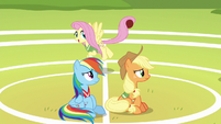 Fluttershy having fun behind Rainbow and AJ S6E18