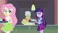 Fluttershy walking to a lunch table EG.png