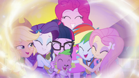 Mane Six and Spike hugging without Sunset Shimmer EGFF