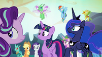 Ponies and changelings hear moving rubble S6E26