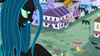 Queen Chrysalis looking out the window S2E26