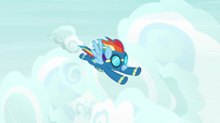 Rainbow Dash flying through the sky S9E3