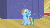 Rainbow Dash pelted with rain water S1E06