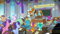 Rockhoof jumps onto the teacher's desk S8E21