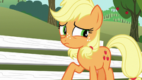 Young Applejack thinking of another excuse S6E23