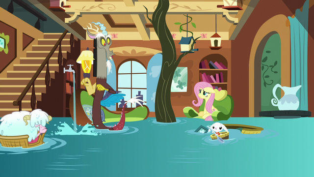 File:Fluttershy's Cottage filled with water S7E12.png