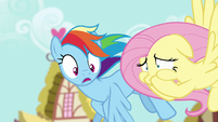 Fluttershy covering her mouth; Rainbow in shock S6E11