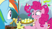 Pinkie Pie giving Rainbow yet another pie S7E23