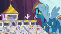 Rainbow Dash hears her parents' loud cheering S7E7