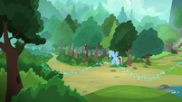 Rainbow sees glitter leading into the woods S8E17