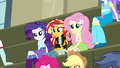 Rarity, Sunset, and Fluttershy listening EG3.png