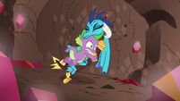 Spike pushes Ember out of the way S6E5