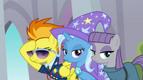 Spitfire, Trixie, and Maud look at the students S8E15