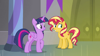 Sunset Shimmer rolling her eyes at Twilight EGFF