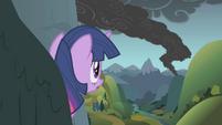 Twilight looks out toward the smoke S1E07